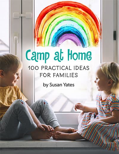 two kids camping at home