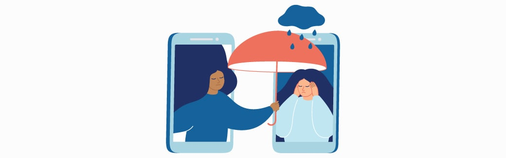 illustration of one person holding an umbrella over another person.